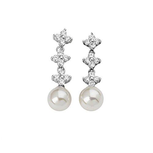 Majorica - Pendientes, perlas y circonitas blancas redondas 10 mm