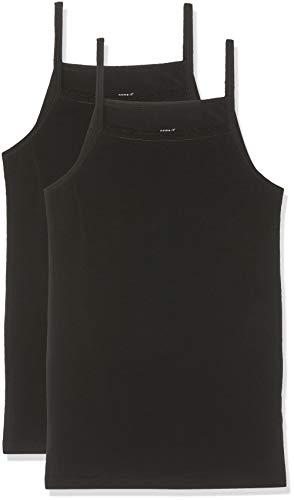 NAME IT Nkfstrap Top 2p Solid Noos Camiseta sin Mangas, Negro (Schwarz Black), 125 (Talla del Fabricante: 110) (Pack de 2) para Niñas