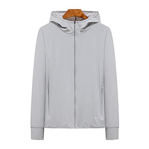 Herren-T-Shirt, LSF 50+, langärmelig, UV-Schutz, mit Kapuze, zum Wandern, Angeln, Schwimmen, silber, XL/4XL