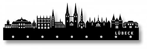 b-wie-bilder Garderobe Wandgarderobe Designer-Garderobe schwarz 120x60 cm aus Acrylglas mit 9 Haken Farbe Lübeck