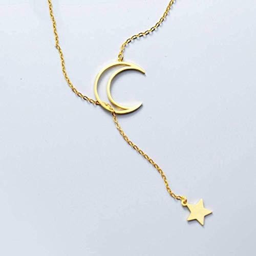 S925 zilveren halsketting voor dames Japanse stijl Temperament sterren maan zoete korte halve maan gebogen sleutelbeen ketting, goud, 925 zilver, EEH A Goud