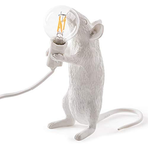 Luntus - Lámpara de mesa moderna de resina con diseño de ratón, lámpara de mesa LED, lámpara de escritorio para niños, regalo para la sala de estar, luces LED de noche, enchufe de la UE en el pie
