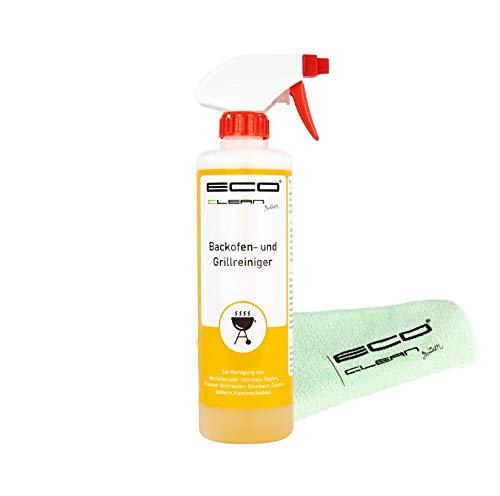 ECO clean by LcM® Backofen- und Grillreiniger inkl. Zerstäuberpumpe | 500 ml | Selbstreinigungsfunktion | kein Schrubben | löst härteste Verkrustungen mühelos + Bonus Microfastertuch