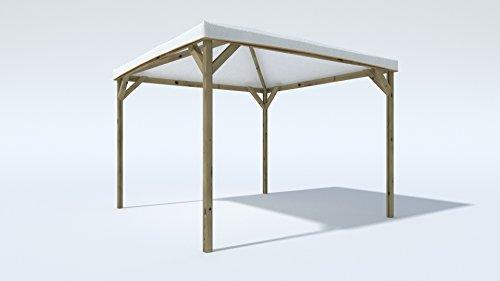 Alce Gazebo da Giardino in Legno massello con Telo in PVC - 3 x 3 Metri