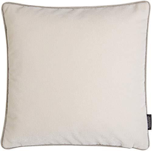 Rohleder Home Collection Kissen - Big Cloud - Salt - 50 x 50 cm - Dicht gewebtes Samtkissen mit farblich passender Paspel - Weiß und Hellgrau - Made in Germany