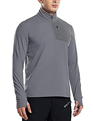 BALEAF Man's 1/2 Zip Pullover Shirts Pockets Long Sleeve Sweatshirts Thumbholes Hiking Camping Golf Deep Gray Size XXL