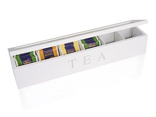 Scatola per bustine da tè in legno 6 scomparti tè Protezione da 43 x 9 cm da bagno