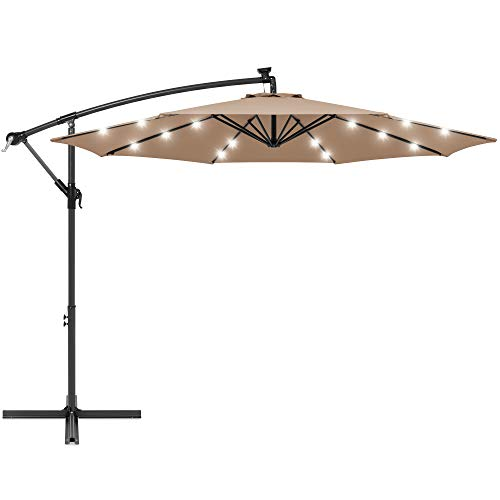 Best Choice Products 10ft Solar LED Offset Hanging Market Patio Umbrella for Backyard, Poolside, Lawn and Garden w/Easy Tilt Adjustment, Polyester Shade, 8 Ribs - Tan