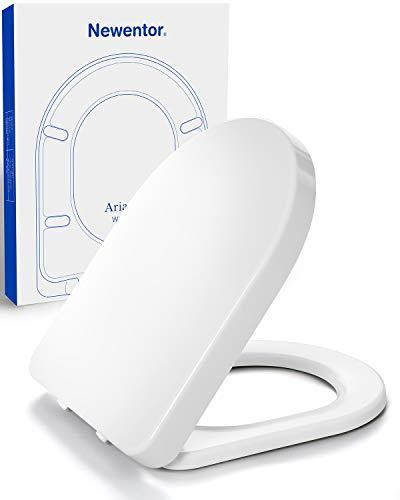 Newentor® Toilettendeckel mit Absenkautomatik, Toilettensitz Duroplast, WC Sitz Abnehmbar Klodeckel Universal, Softclose Toilettendeckel, Klobrille Absenkautomatik Weiß D-Form