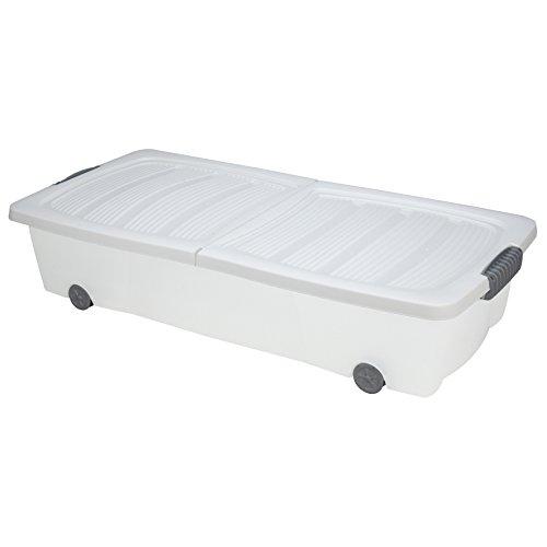 Unterbettkommode Weiß 40l Rollbox Räder Unterbettbox Spielzeugkiste
