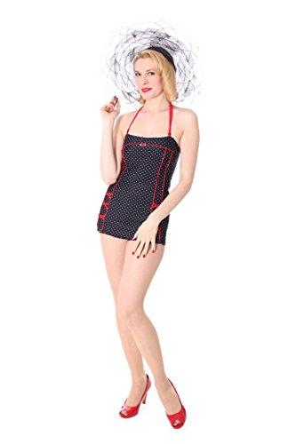 SugarShock Lotta Bandeau Badeanzug im Corsagen Look, Größe:XL (42-44), Farbe:Schwarz