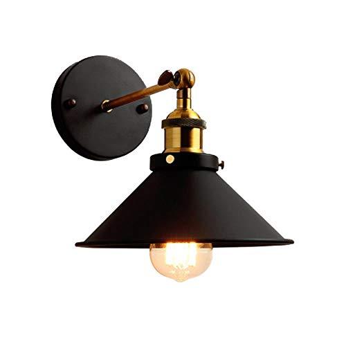 RDJSHOP - Lámpara de pared estilo americano retro industrial o balcón de hierro forjado creativo para escaleras, pasillo, lámpara de pared frontal de 22 cm sin fuente de luz