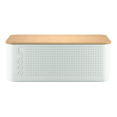 Bodum bistro bread box with bamboo cutting board (BPA-free plastic, easy cleaning) cream-colored