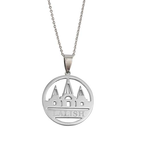 Lalish Anhänger Kette Halsketten Silber Farbe Edelstahl Yeziden Glauben Pilgerfahrt Schmuck Für Frauen Mädchen 45 cm