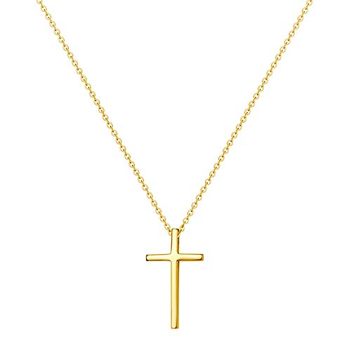 14K Gold Plated Tiny Cross Pendant Necklace for Women Simple Cross Necklaces Birthday Gifts for Women Girl Fashion Jewelry (Gold cross)