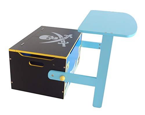Bebe Style PRF1CTB-Blue Verwandelbare Spielzeugkiste + Tischbank + Stuhl - Holzkiste Aufbewahrung, blau - 6