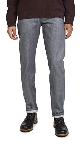 Naked & Famous Men's Weird Guy Grey Selvedge Jeans, Grey Selvedge, 34