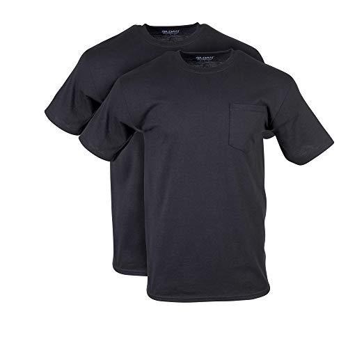 Gildan Men's DryBlend Workwear T-Shirts with Pocket, 2-Pack, Black, X-Large