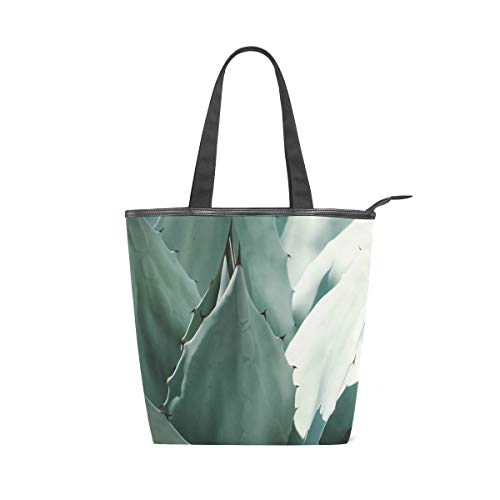 NaiiaN Geldbörse Shopping Golf Light Straight Strap Einkaufstasche Aloe Vera Green Plant Handtaschen für Frauen Mädchen Damen Student Schultertaschen
