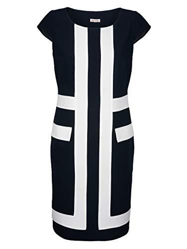 Alba Moda Kleid mit kontrastfarbenen Blenden im Vorderteil Marineblau