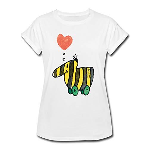 Janosch Große Tigerente Mit Herz Frauen Oversize T-Shirt, L, Weiß