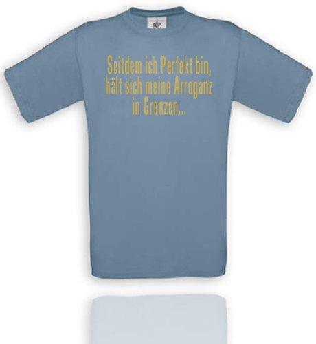 Comedy Shirts T-shirt unisexe avec inscription « Seitdem ich Perfekt bin, hält sich meine Arroganz in Grenzen... » Disponible en différentes couleurs XXL Bleu pierre/doré.