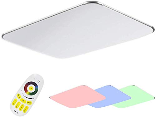 NAIZY 48W LED Modern Deckenlampe - Ultraslim Deckenleuchte Schlafzimmer Licht Küche Flur Wohnzimmer Lampe Silber Energie Sparen - RGB
