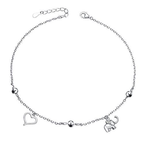 Fußkette mit Herz, Elefant und Kugeln 925 Sterling Silber Zirkonia Fußkettchen Verstellbar Charm Armkette fürDamen Frauen