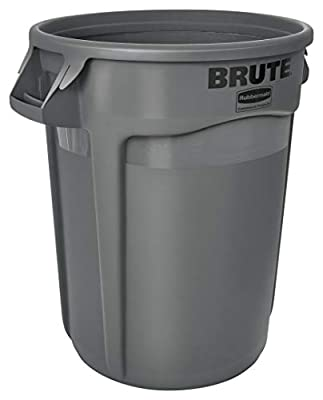 Rubbermaid Commercial Products BRUTE Heavy-Duty Trash/Garbage Can, 32 Gallon, Gray