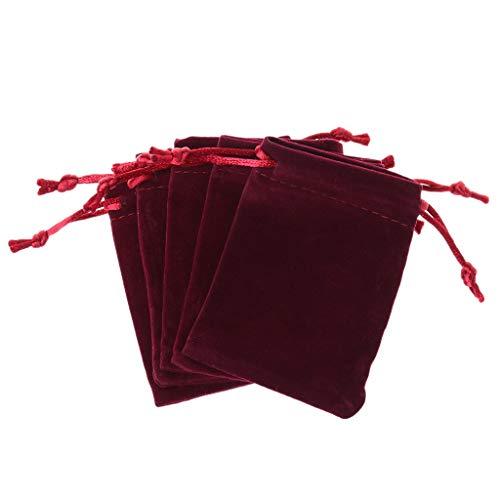 5 x Würfelbeutel mit Kordelzug aus Samt, Motiv Dungeons und Dragons burgunderfarben