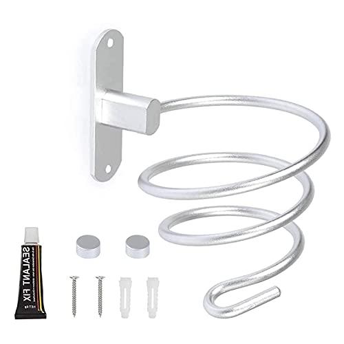 MingZhuInC - Supporto per asciugacapelli, in acciaio inox, montaggio a parete, per salone, bagno, camera da letto, colore: argento