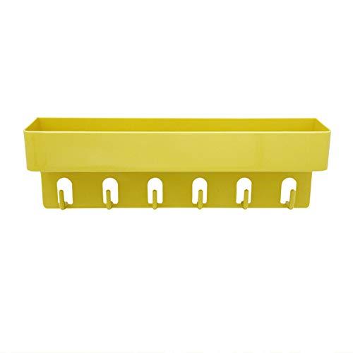 Sebasti Cesta de ducha de plástico, sin taladrar, estantería de pared con ganchos, rectangular, resistente al agua, para colgar en el baño, de plástico, autoadhesiva, 30 x 6 x 10 cm, color amarillo