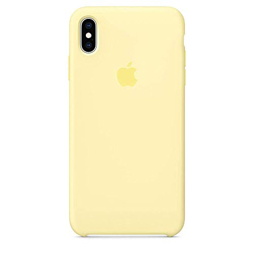 iPhone Xs Liquid Silicone Case Fits iPhone Xs (5.8 inch), Gel Rubber Protection Shockproof Cover Case with Soft Microfiber Cloth Lining Cushion (Mellow Yellow)