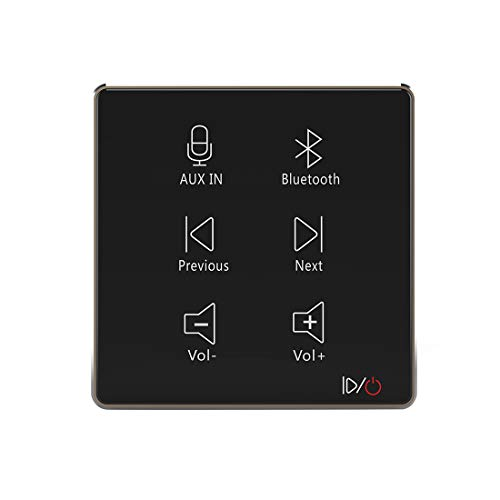 HELMER in Wall Audio Amplifier, Wall Mount Bluetooth Receiver, in-Wall Stereo Audio Volume Controller, Black, L50