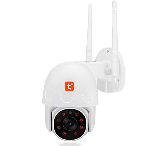Tuya WIFI Cámara IP, cámara de video PTZ de seguimiento automático impermeable al aire libre, vigilancia CCTV de seguridad para el hogar con visión nocturna de 1080P,Camera + 32g card