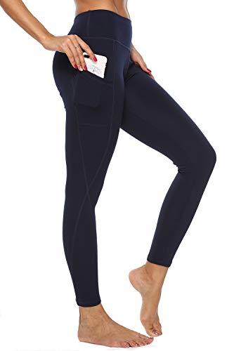 4How Damen Sport Leggings mit Handytaschen Hohe Taille Fitness Yogahose Lang Blickdicht Sporthose Jogginghose,Navy,L