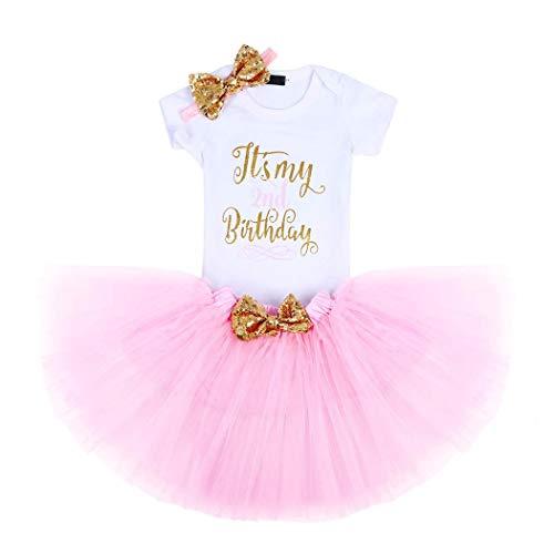 Jurebecia Neugeborene Mädchen Es ist Mein 1./2. Geburtstag Outfits Prinzessin Tutu Kleid 3er Set Strampler + Rock + Stirnband