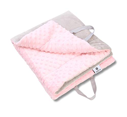 Yarni Baby Blanket Soft Minky Dotted Fabric Folds into Bag   Play Mat Bag  Tummy Time mat   Warm Double Layer Fabric – for Boys, Girls, Newborn, Toddler Size Crib Bedding   3 Colors (Soft Pink/Grey)