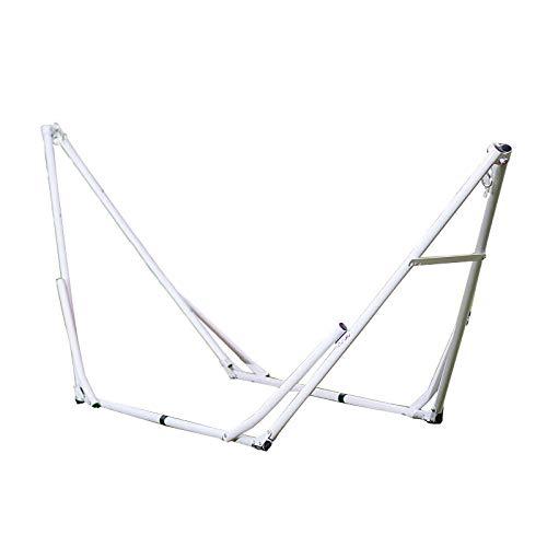 Portable Méta Blanc Support Hamac Pliable pour Hammac, Charge jusqu'à 150kg (260x80cm) Hamac La Siesta pour Patio Yard Outdoors