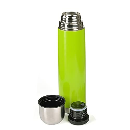 GRÄWE Thermoflasche, Edelstahl, 1L Vakuum-Isolierte Isolierflasche mit Drehverschluss und Trinkbecher, auslaufsicher – Grün