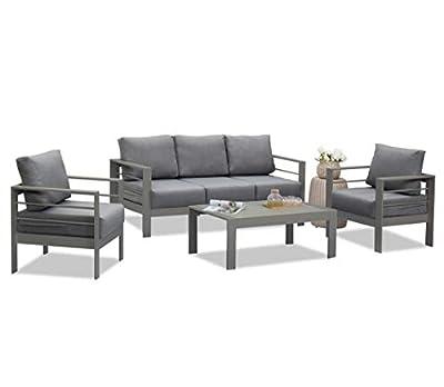 Wisteria Lane Outdoor Patio Furniture Sets, 4 Piece Aluminum Sectional Sofa, Grey Metal Conversation Set with Dark Grey Cushions