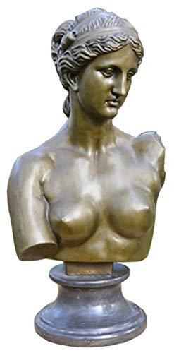 Escultura de escritorio Venus Bust Bust Statue, escultura de bronce ilustraciones de arte jardín al aire libre decoración del hogar adorno pequeña escultura H53CM