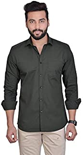 FIFTH ANFOLD Solid Pure Cotton Casual Full Long Sleev Spread Collar Mens Shirt
