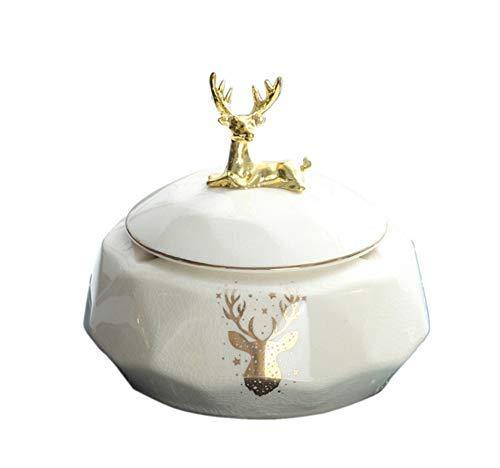 Wohnzimmer Couchtisch Haushalt Fawn Aschenbecher Personality Trend mit Deckel Anti-Fly Ash Licht Keramik Aschenbecher