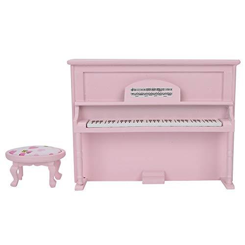 Accessoires pour maison de poupée - Piano droit - Mini piano droit - Jouet pour la maison (rose)