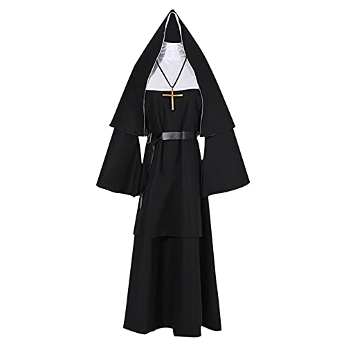 FUYERLI Traje De Cosplay De Monja De Mujer De Halloween con Turbante Traje De Monja Sacerdote Disfraz De Halloween