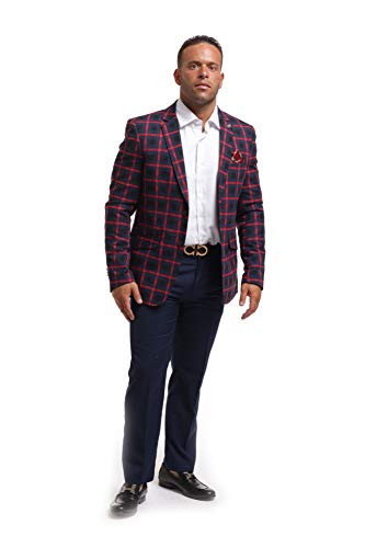 Elie Balleh Navy Wild Red Checkered Men's Blazers Sports Coat Jacket