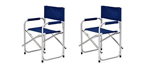 XONE Coppia POLTRONE Regista 56x47x78CM in Alluminio e 600D PVC | Sedie Regista con braccioli Foderati - 2 Pezzi - Colore Blu Leggera e maneggevole