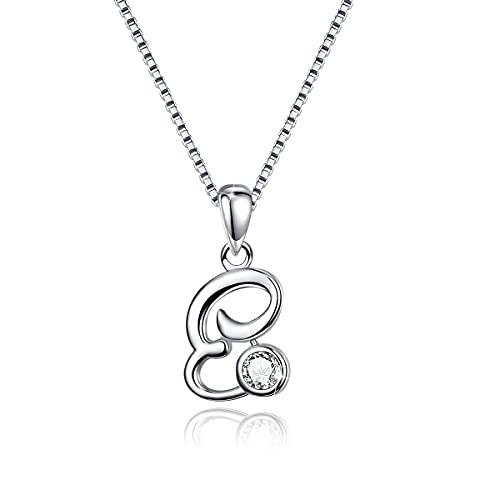 Initial Necklace 925 Sterling Silver Alphabet E Letter Necklaces Pendant Monogram Necklace