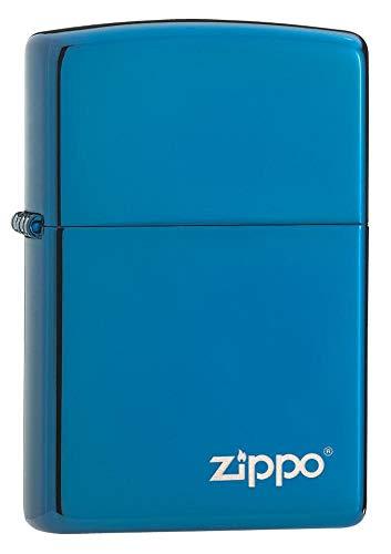 Zippo PVD Blue con Logo, Accendino Unisex Adulto, Blu, Regular